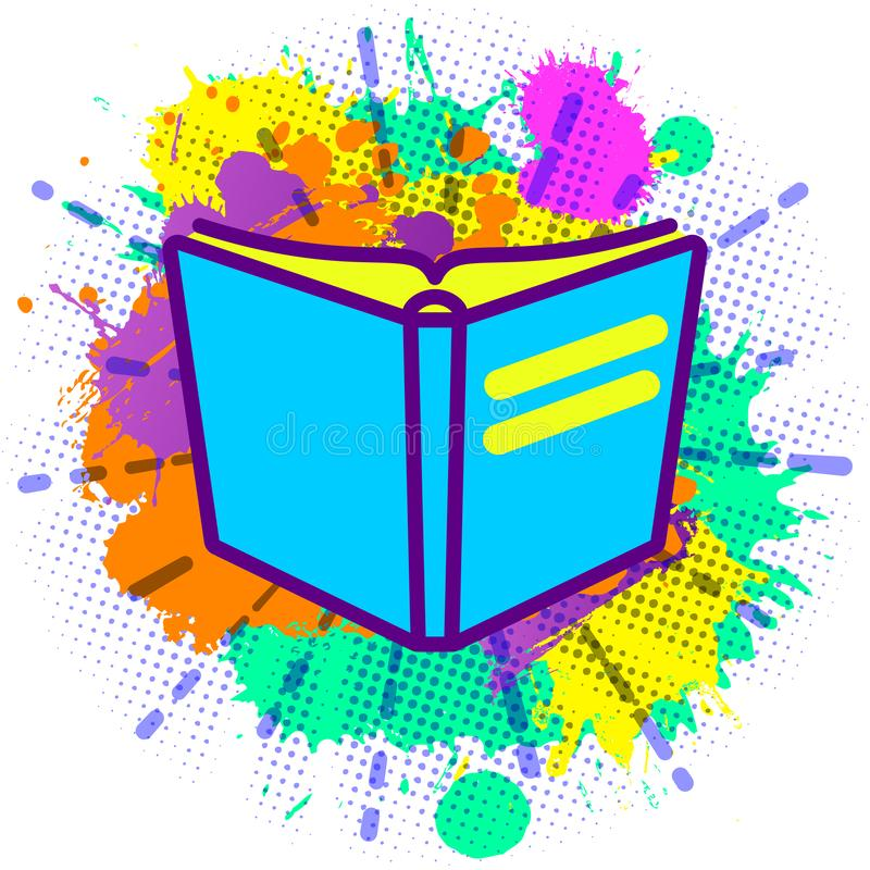 Colorful paint splashes with emblem of flat lay modern pastel colored open book on white background stock illustration