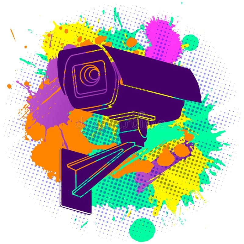 Colorful paint splashes with flat lay modern minimal  silhouette of CCTV security camera on white background royalty free illustration