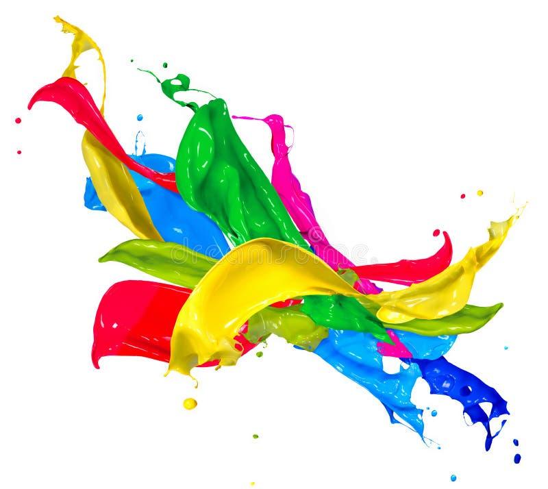 Colorful Paint Splashes. Isolated on White. Abstract Splashing royalty free stock image