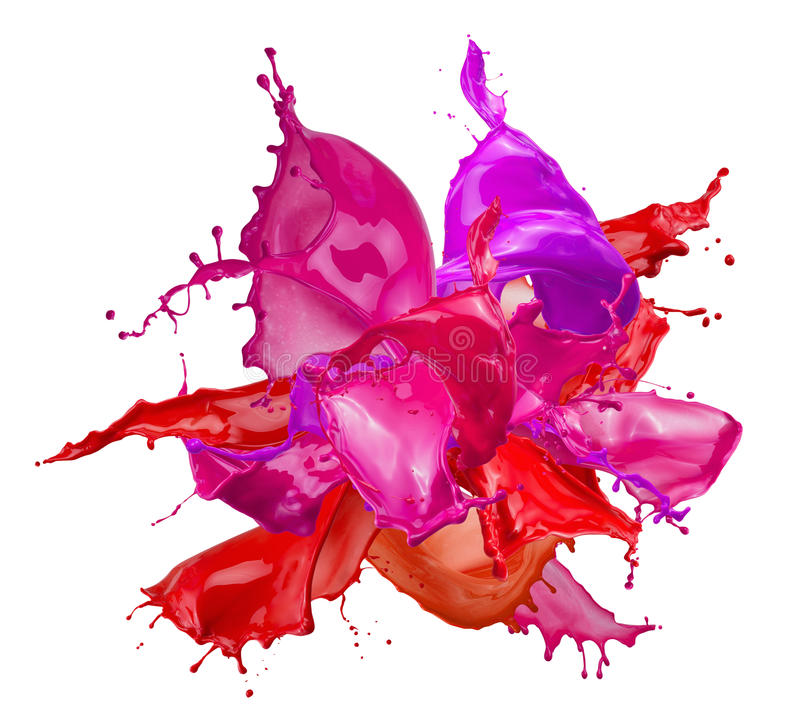Colorful paint splashes isolated on a white background.  stock images