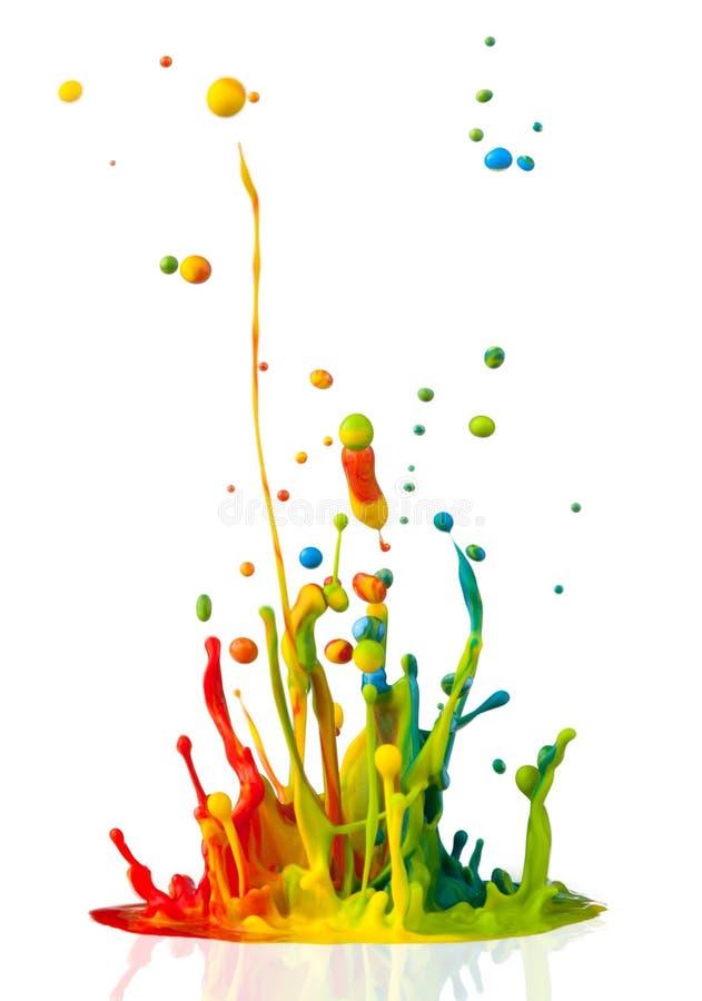 Colorful paint splashing. On white background stock images