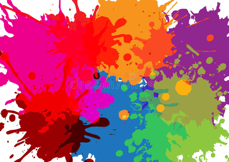 colorful paint splatters Παφλασμοί χρωμάτων καθορισμένοι επίσης corel σύρετε το διάνυσμα απεικόνισης ελεύθερη απεικόνιση δικαιώματος