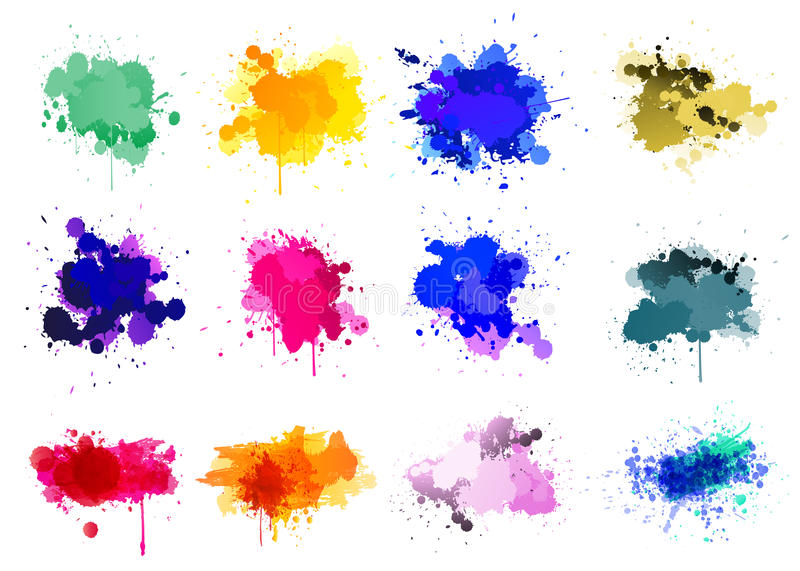 Colorful paint splatters - set of 12 stock illustration
