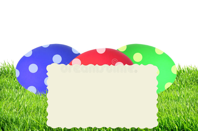 Colorful Painted Easter Eggs in green grass and card isolated on royalty free stock images