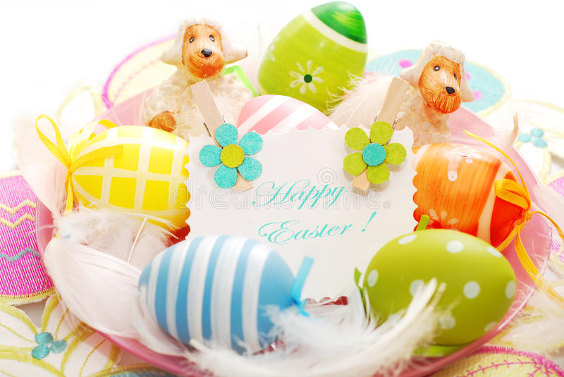 Download Colorful Easter Eggs And Greetings Card Stock Photo - Image: 29944870