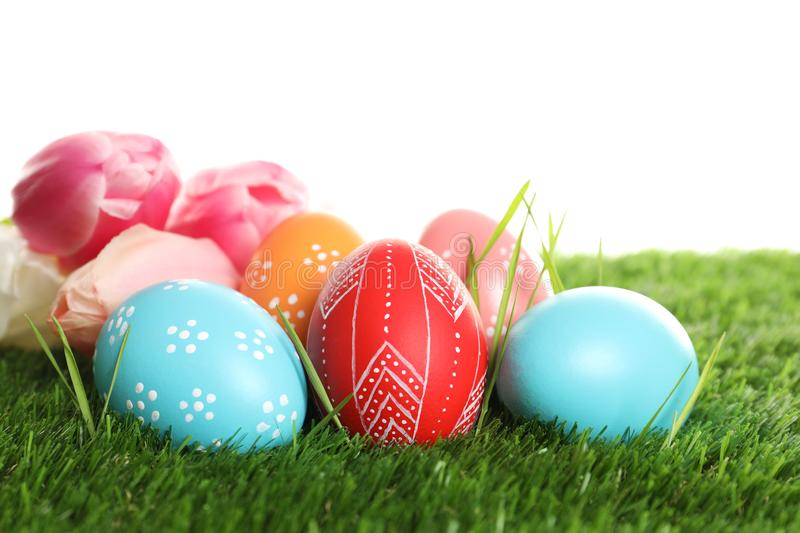 Colorful painted Easter eggs and spring flowers on green against white background stock images