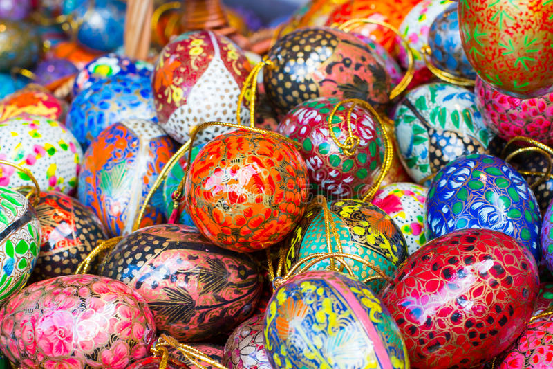 Colorful painted Easter eggs. At the traditional market royalty free stock images