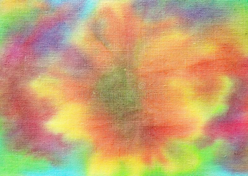 Colorful painted flower on fabric stock images