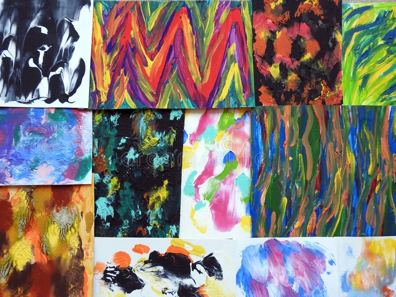 Colorful painted paper pieces stock photo