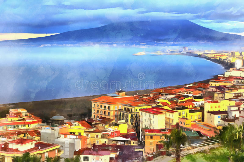 Colorful painting of aerial view on Mount Vesuvius. Campania, Italy stock photography