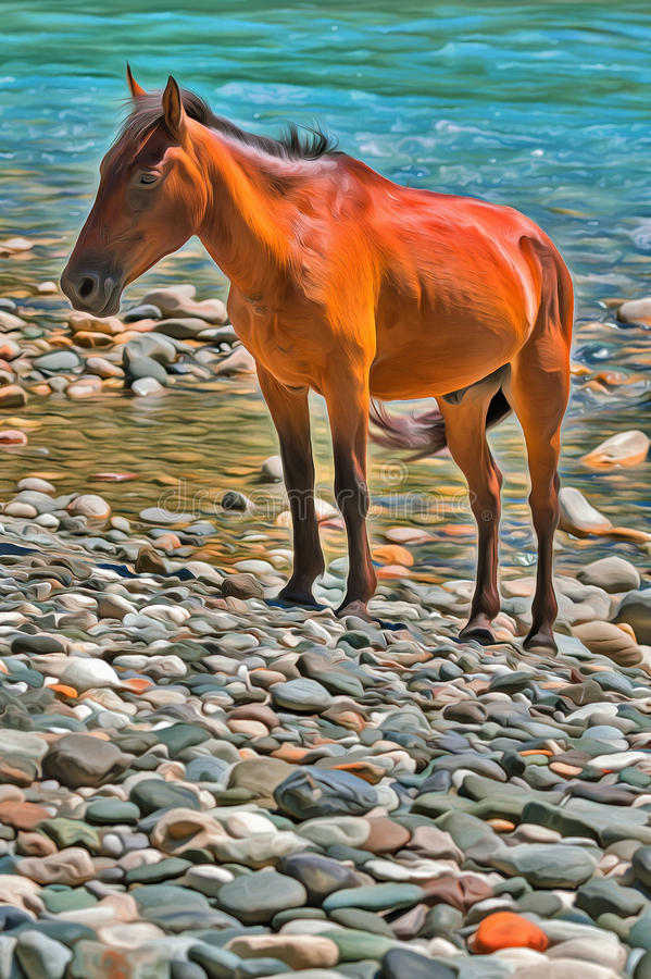 Download Colorful Painting Of Brown Horse On Mountain River Stock Illustration - Illustration of reserve, pebble: 90666325