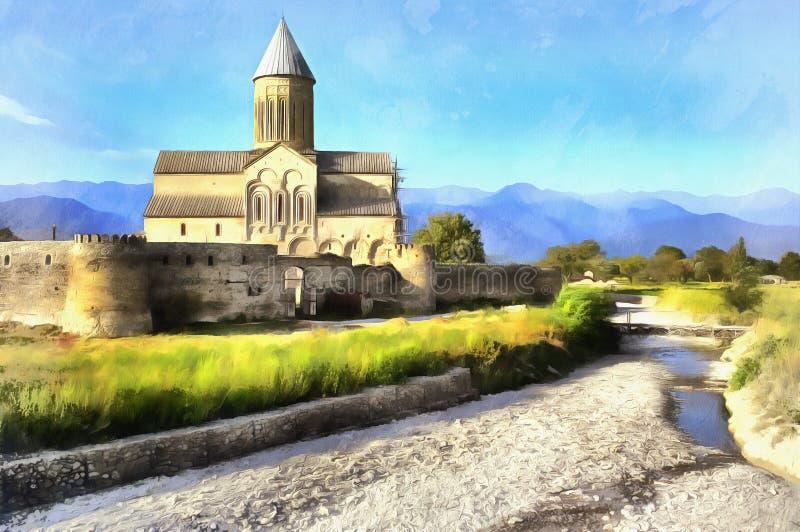 Colorful painting of Cathedral of Alaverdi Monastery. Kakheti, Georgia stock photography
