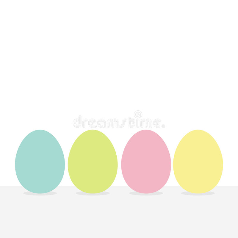 Colorful painting Easter egg set. Row of painted eggs shell. Light color. White background. Isolated. Flat design. vector illustration