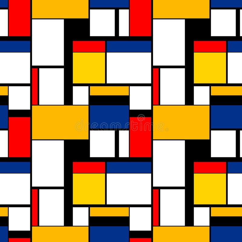 Colorful painting in Piet Mondrian`s style, modern seamless pattern royalty free illustration