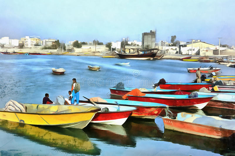 Colorful painting of traditional persian gulf ships Bushehr Iran. Colorful painting of traditional persian gulf ships, Bushehr, Iran stock photography