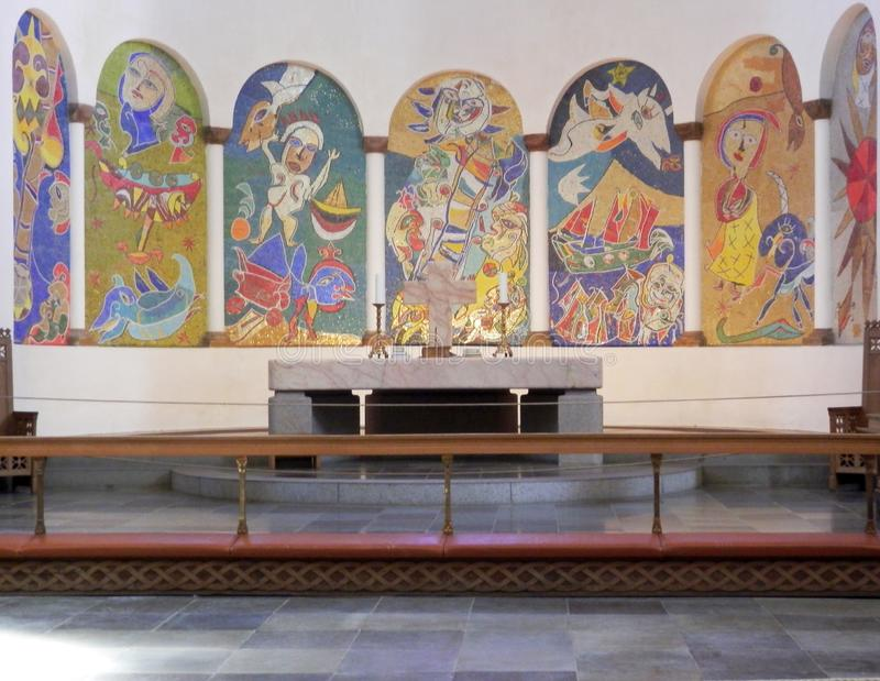 Colorful paintings above alter in Ribe cathedral royalty free stock photography
