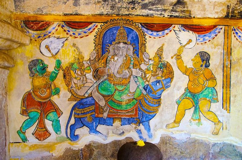 Colorful paintings on the inner wall of the Brihadishvara Temple, Thanjavur, Tamil Nadu, India. Colorful paintings on the inner wall of the Brihadishvara Temple stock image