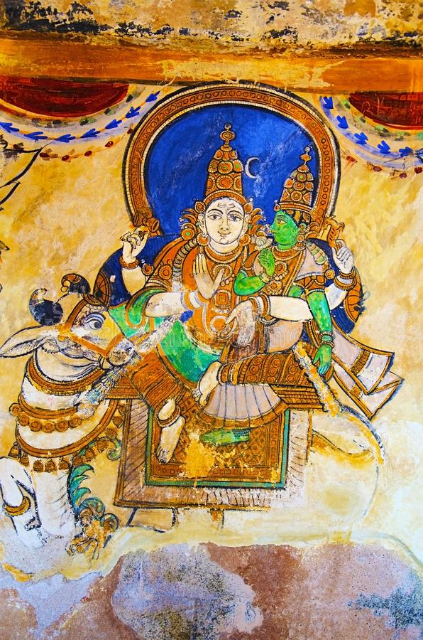 Colorful paintings on the inner wall of the Brihadishvara Temple, Thanjavur, Tamil Nadu, India. Colorful paintings on the inner wall of the Brihadishvara Temple royalty free stock photo