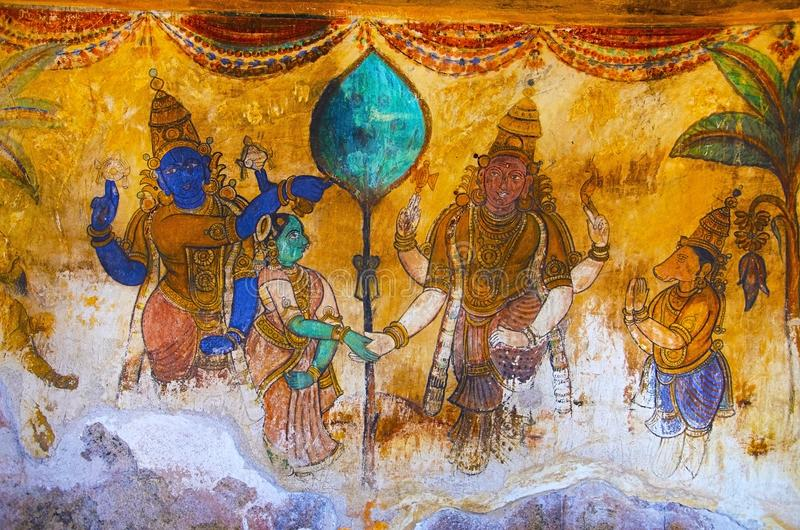 Colorful paintings on the inner wall of the Brihadishvara Temple, Thanjavur, Tamil Nadu, India. Colorful paintings on the inner wall of the Brihadishvara Temple royalty free stock image