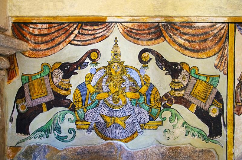 Colorful paintings on the inner wall of the Brihadishvara Temple, Thanjavur, Tamil Nadu, India. Colorful paintings on wall of the Brihadishvara Temple, Thanjavur royalty free stock photos