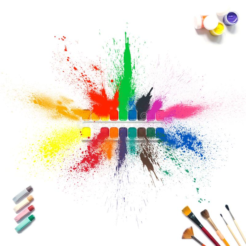 Colorful paints and brushes with multi-colored spray splash paint, gouache, watercolor isolated on white background. stock illustration