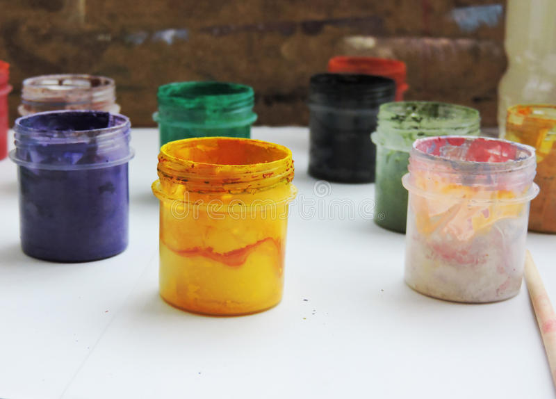 Colorful paints. Colorful color for development of creative abilities of adolescents and children royalty free stock photo