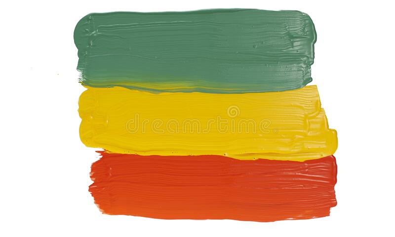 Colorful paints of primary colors red, yellow and green. A string of three colors of paint on a white background royalty free stock photos