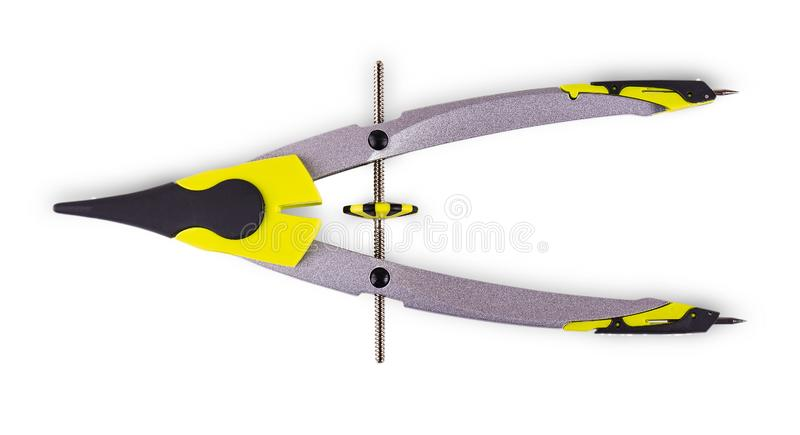 The colorful pair of compasses on white background stock images