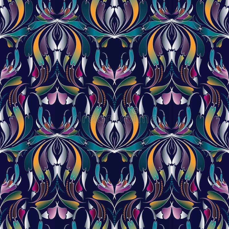 Colorful paisley seamless pattern. Floral blue background. Luxury flourish wallpaper. Vintage hand drawn 3d flowers, swirl curve stock illustration