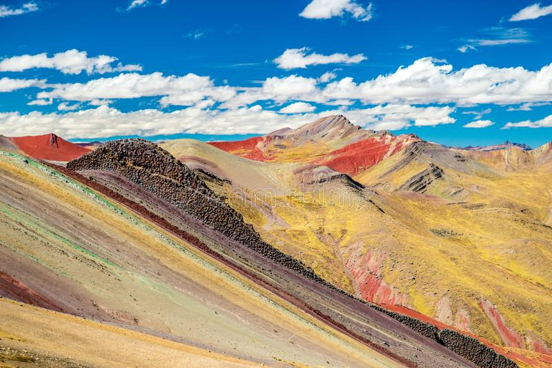 Colorful Palccoyo rainbow mountain Vinicunca alternative, mineral color stripes in Andean valley, Cusco, Peru, South America stock photography