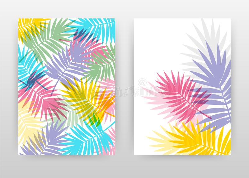 Colorful palm leaves design for annual report, brochure, flyer, poster. Red, yellow, blue, purple palm leaf background vector stock illustration