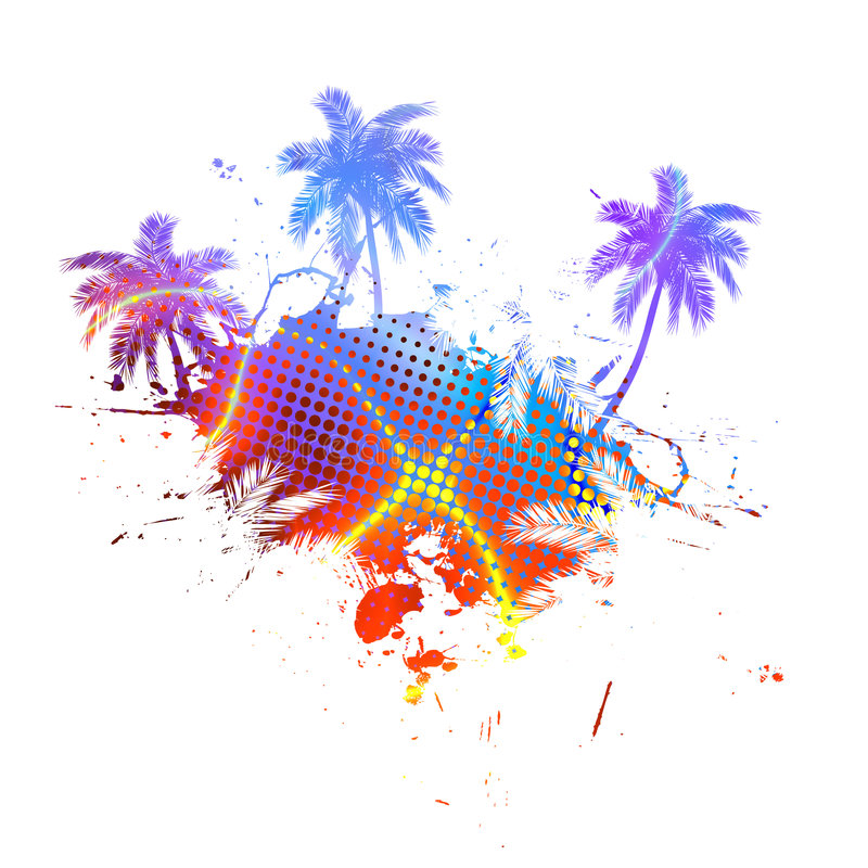 Colorful Palm Trees Grunge royalty free illustration