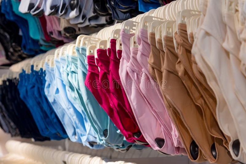 Ladies panties, women`s lingerie at a shopping mall. Colorful panties for ladies, women`s lingerie at a shopping mall stock images