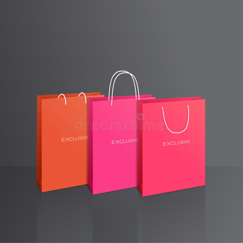 Colorful paper bags set isolated on grey. Background, vector vector illustration