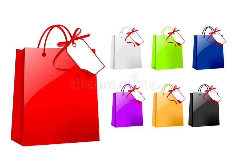 Colorful paper bags with tag, cdr vector stock images