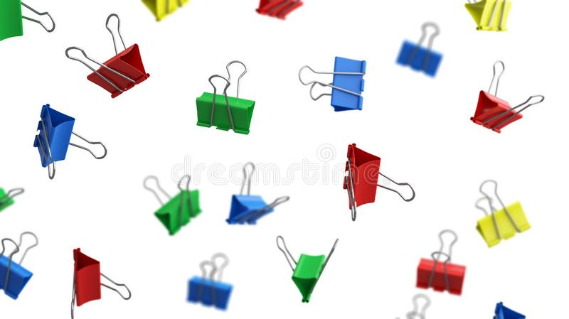 Colorful paper binder clips in the air on white background for education or business concept. 3d illustration.  royalty free illustration