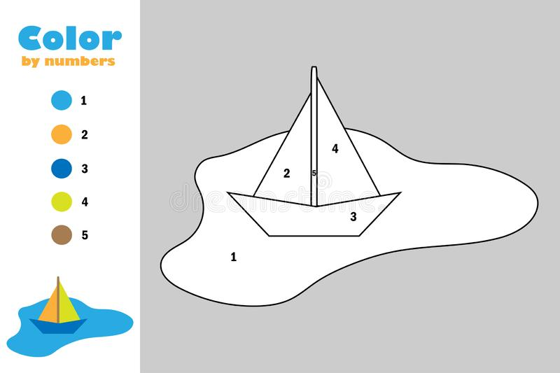 Colorful paper boat in puddle in cartoon style, color by number, education paper game for the development of children, coloring stock illustration