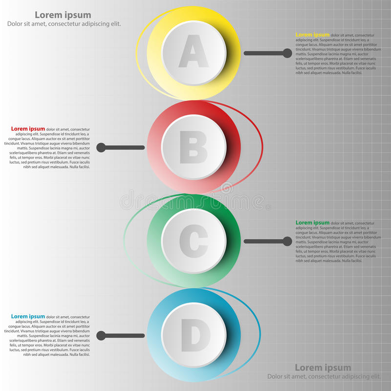 Colorful paper circle 3d with four topics in vertical view for website presentation cover poster design infographic. Illustration concept royalty free illustration