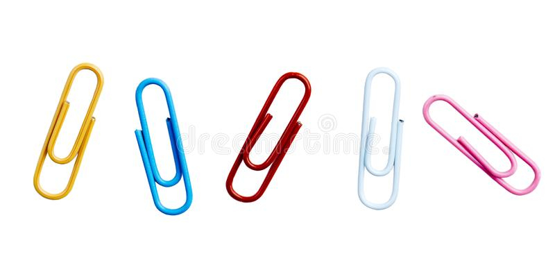 Colorful paper clips isolated over white background royalty free stock photography