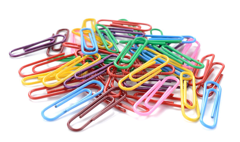 Colorful paper clips isolated on white background royalty free stock image