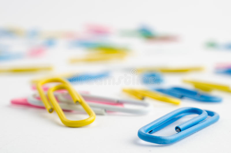 Colorful paper clips royalty free stock image