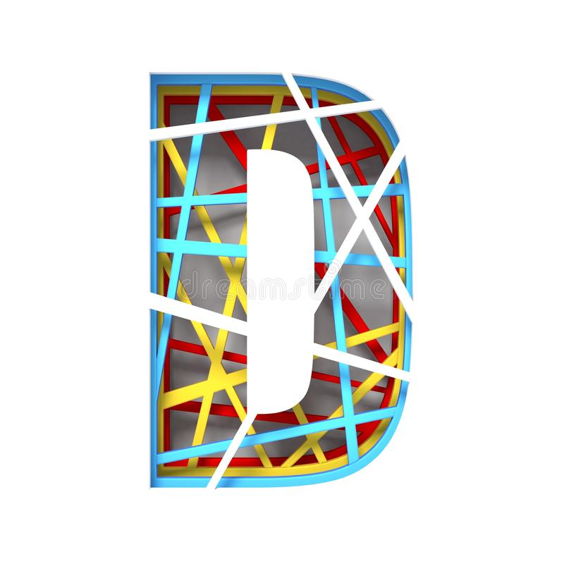Colorful paper cut out font Letter D 3D. Render illustration isolated on white background stock illustration