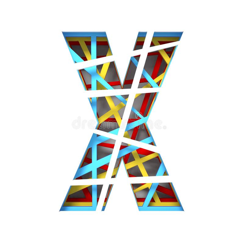 Colorful paper cut out font Letter X 3D. Render illustration isolated on white background royalty free illustration