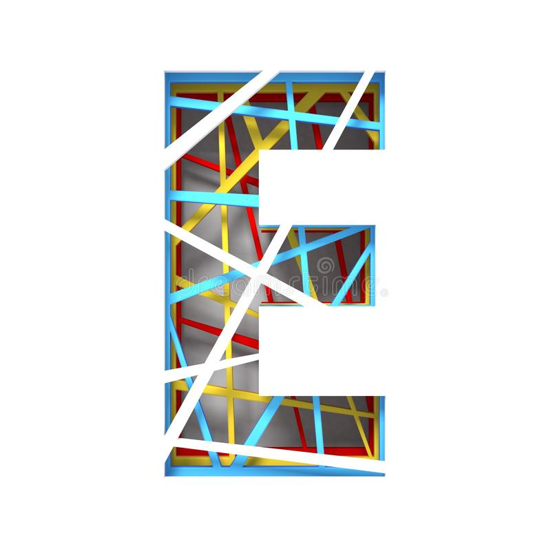 Colorful paper cut out font Letter E 3D. Render illustration isolated on white background royalty free illustration
