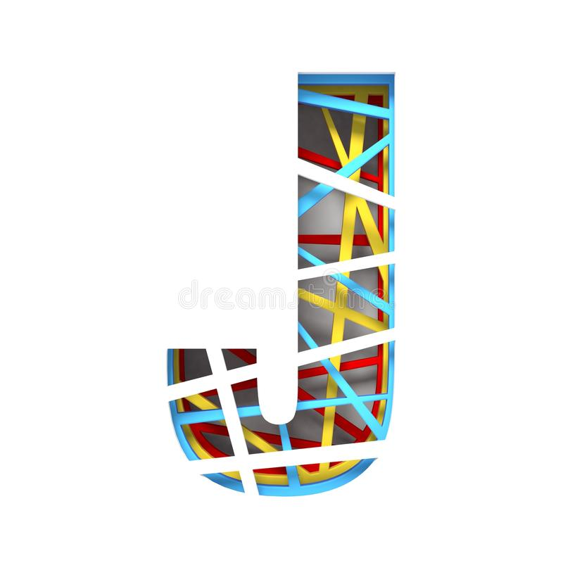 Colorful paper cut out font Letter J 3D. Render illustration isolated on white background stock illustration