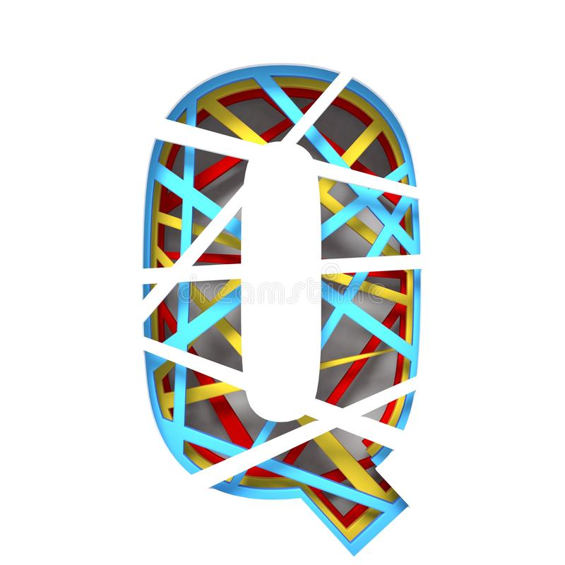 Colorful paper cut out font Letter Q 3D. Render illustration isolated on white background royalty free illustration