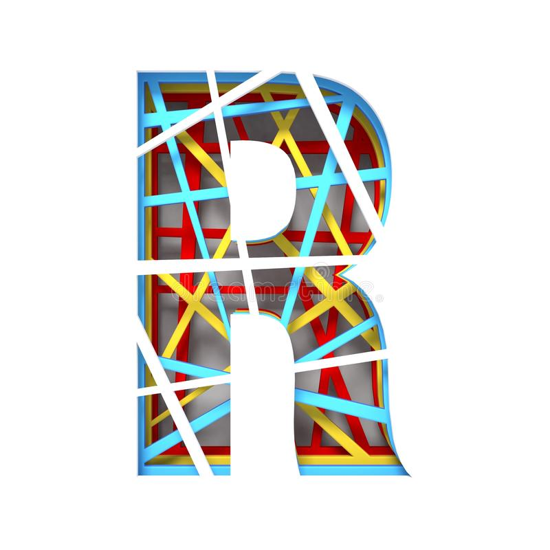 Colorful paper cut out font Letter R 3D. Render illustration isolated on white background stock illustration