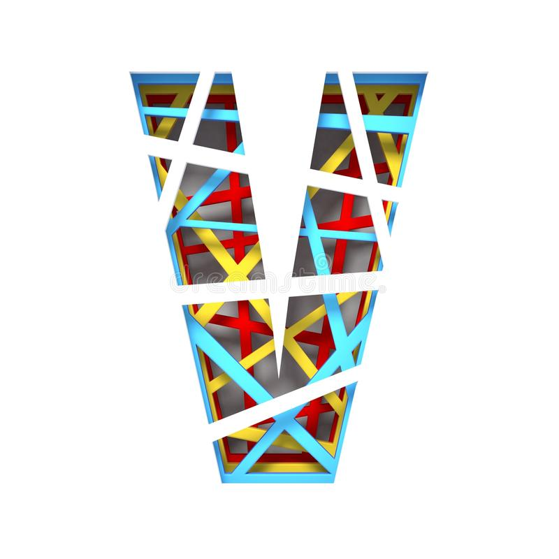 Colorful paper cut out font Letter V 3D. Render illustration isolated on white background stock illustration