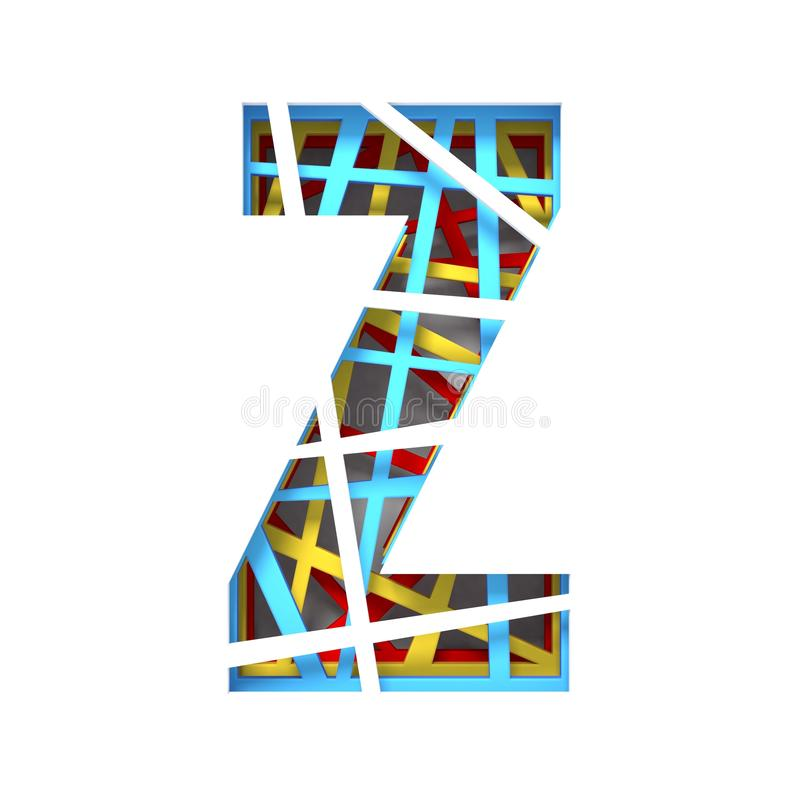Colorful paper cut out font Letter Z 3D. Render illustration isolated on white background vector illustration
