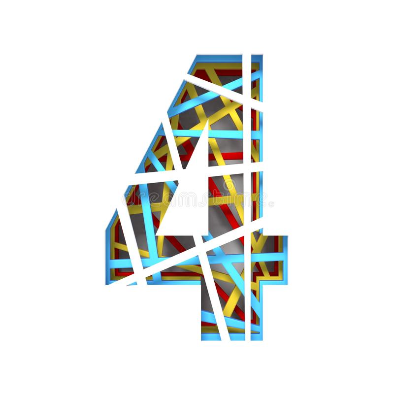 Colorful paper cut out font Number 4 FOUR 3D. Render illustration isolated on white background royalty free illustration